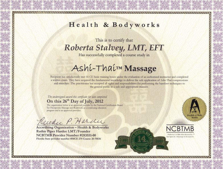 Massage Tlc Roberta Stalvey Ashi Thai Certification Carrollton Tx