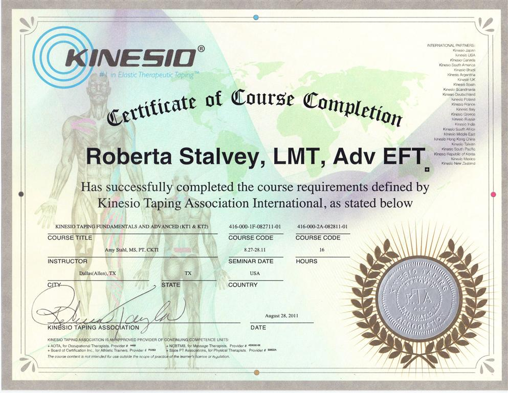 Kinesio Advanced Certificate of Completion