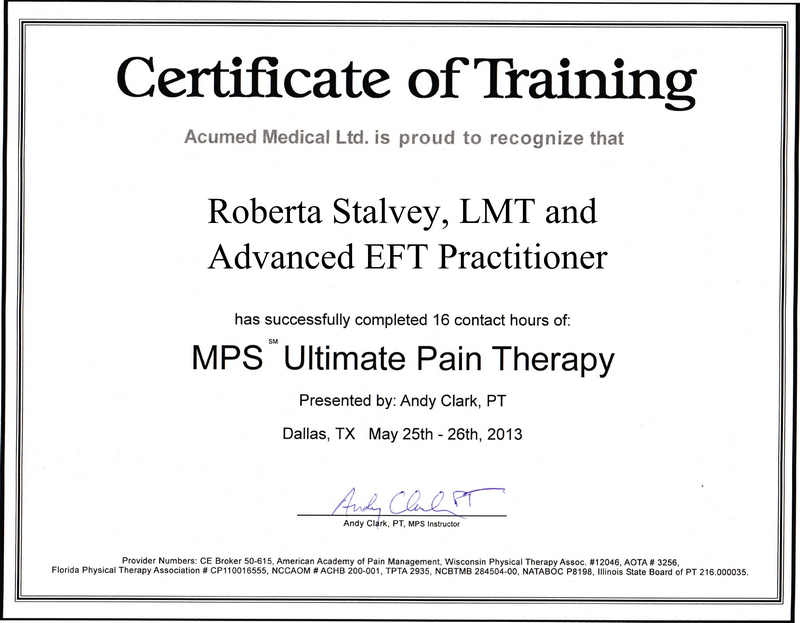 MPS Ultimate Pain Therapy Certificate of Training