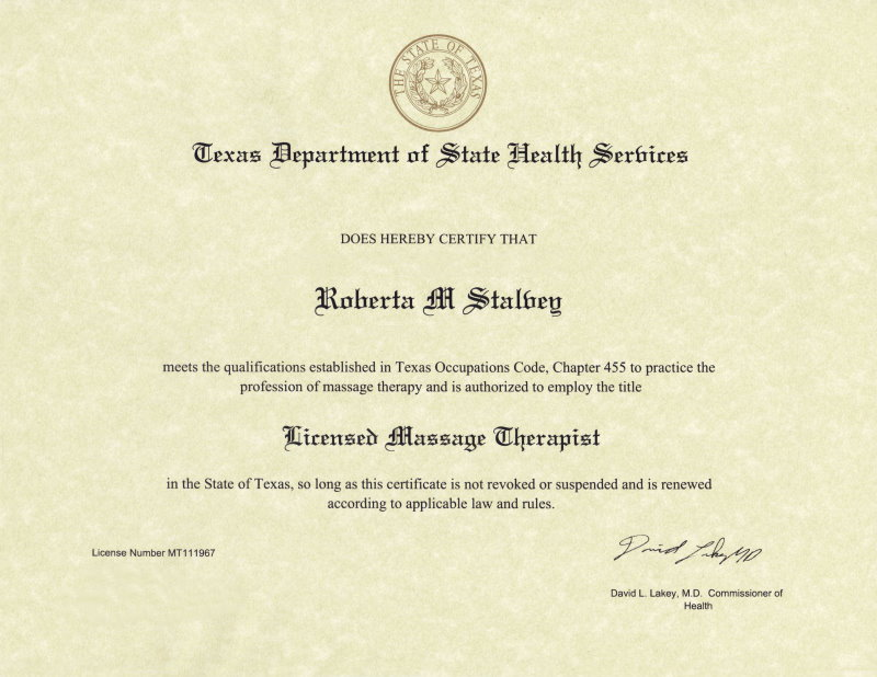 Massage tlc roberta stalvey licensed massage therapist